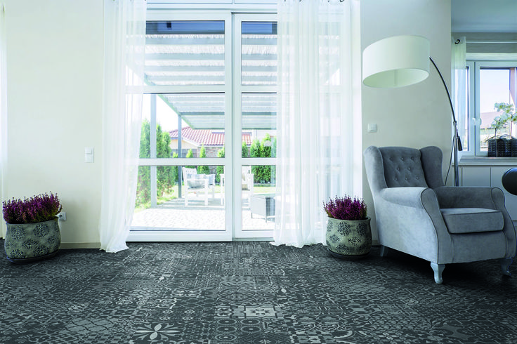 A tak prezentuje się nasza nowa kolekcja na podłodze. Podoba się? :)  #Falquon #floor #mosaic #laminate #panel #podłoga #mozaika #blackandwhite