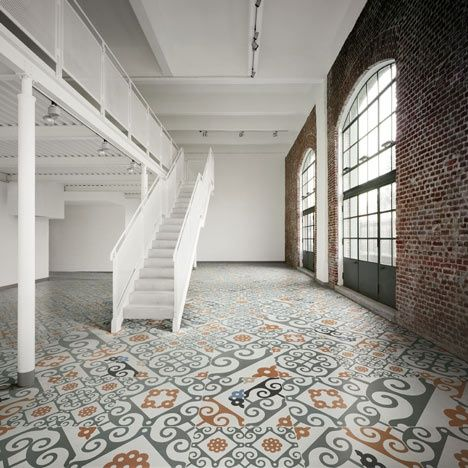 Love the graphic floor pattern and open concept