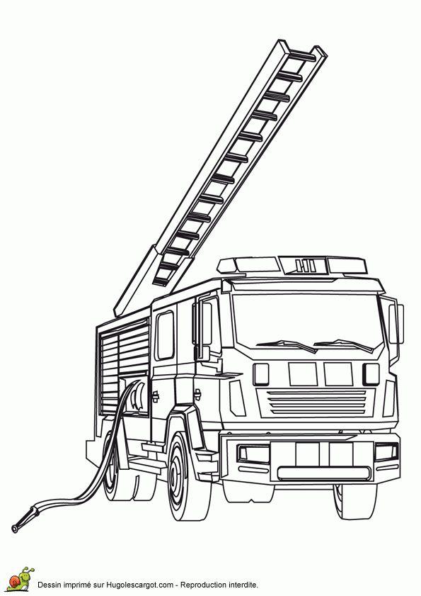 Un camion des sapeurs pompier avec grue et pompe eau - Camion pompier a colorier ...