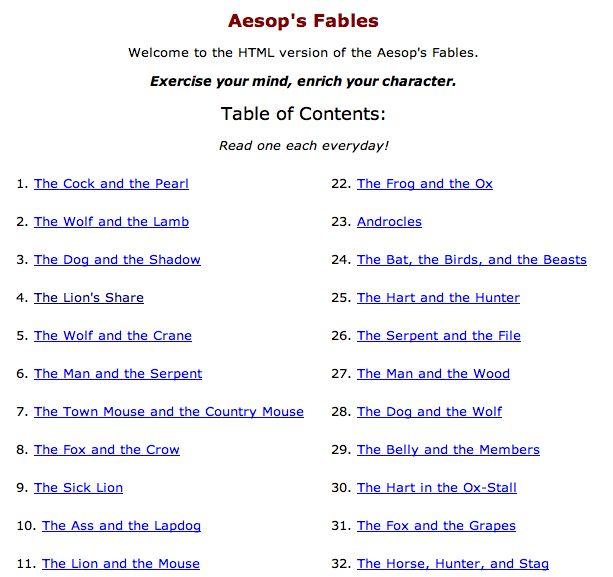 Aesop's fables online