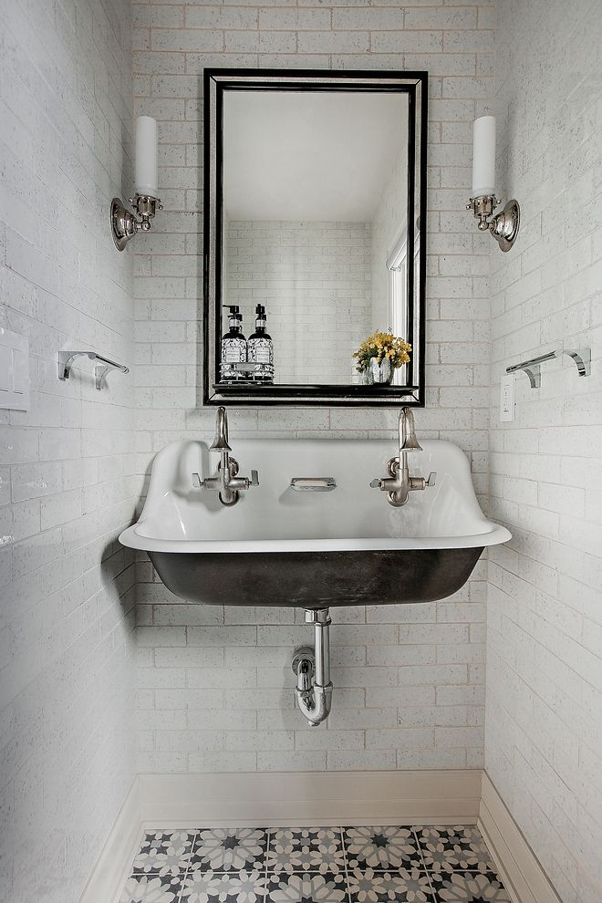 Wall Mounted Sink Bathroom Wall Mounted Sink This Powder Room Is Full Of Great Ideas And This Has To Be The Most Popula Wall Mounted Sink Modern Farmhouse Sink
