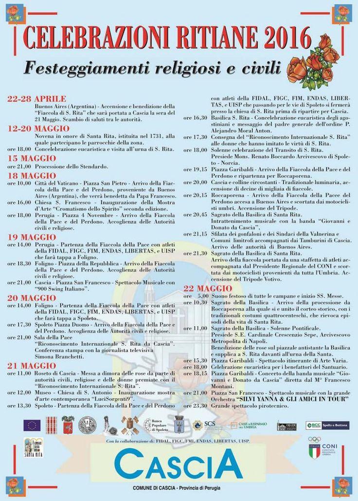 Programma Santa Rita 21-22 maggio 2016