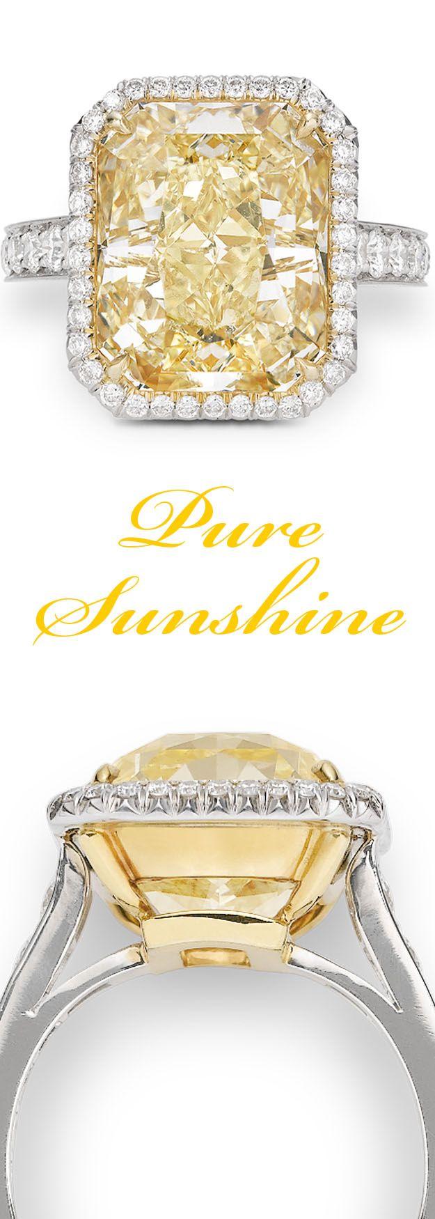 This awe-inspiring 10.21 carat yellow diamond bears the Natural Fancy color grade ~ M.S. Rau Antiques