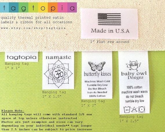 Qty 50~ Custom Clothing labels~ thermal printed textile/clothing tags- hanging or flat sew around