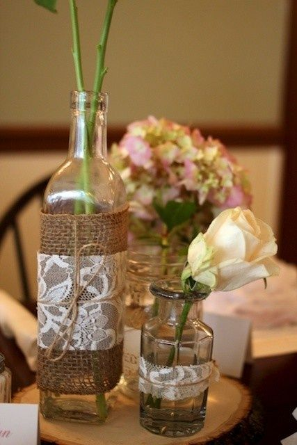 flower vases with burlap and lace