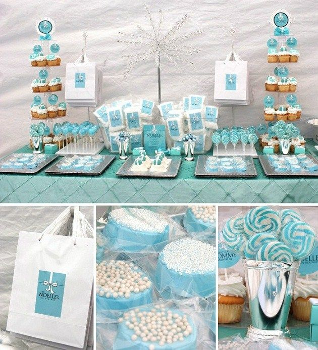 Tiffany blue baby shower...I know it's not a birthday party idea but I think it's a cute idea for a boy baby shower
