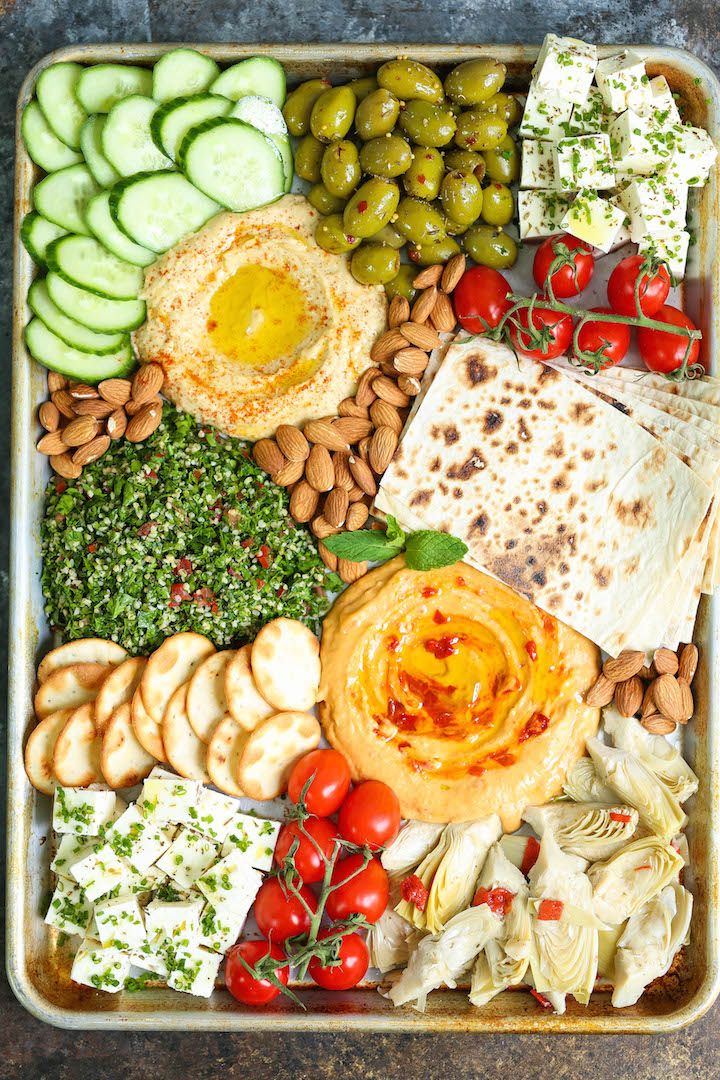 The Perfect Easy Mezze Platter - This is the absolute perfect Mediterranean party platter! With hummus, tabbouleh, almonds, lavash bread and so much more!