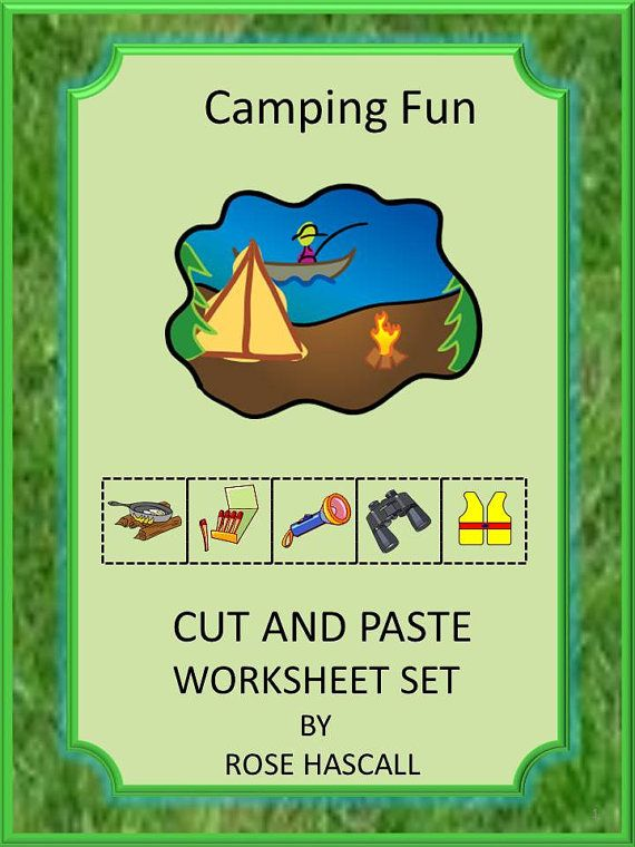 camping fun cut and paste worksheets for pre k k and special education summer is the time for. Black Bedroom Furniture Sets. Home Design Ideas