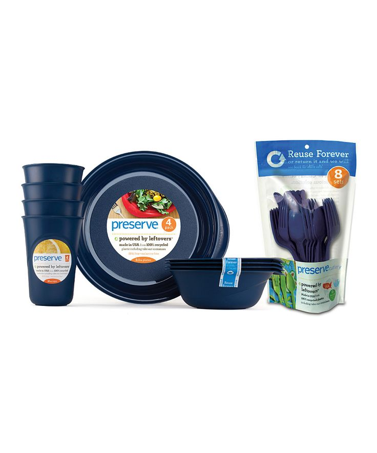 Loving this Preserve Midnight Blue Tableware & Cutlery Set on #zulily! #zulilyfinds