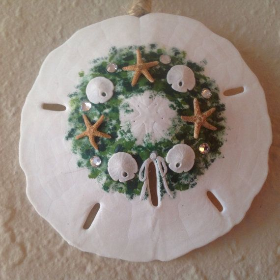 Seaside Wreath Ornament on White, Sand Dollar Ornament, Beach Christmas, Ornament or Gift Exchange, Secret Santa, Package Decoration