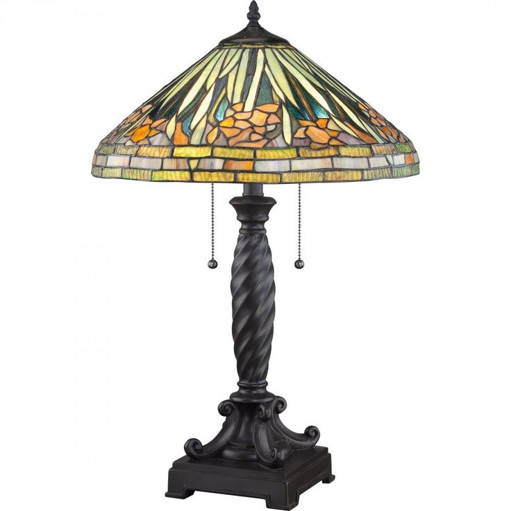 This Tiffany Style Art Glass Table Lamp From Quoizel Has A