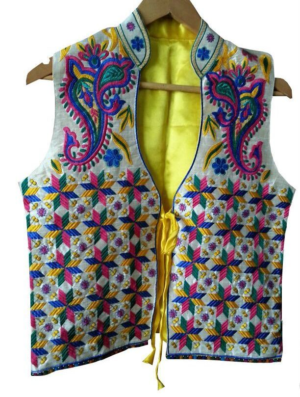 Phulkari Embroided Jacket  http://www.curiotown.com/Women-Apparel/Jackets/phulkari-embroided-jacket  Phulkari jacket, artistic decorated with embroidery work. Designed for all stylish and fashionable women who wants to be noticed in the crowd.   Price : 1800/- Product Code:CT/RO/11  Available: @www.curiotown.com