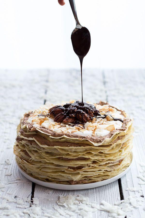 toasted coconut cream rum & chocOlate mousse crepe cake