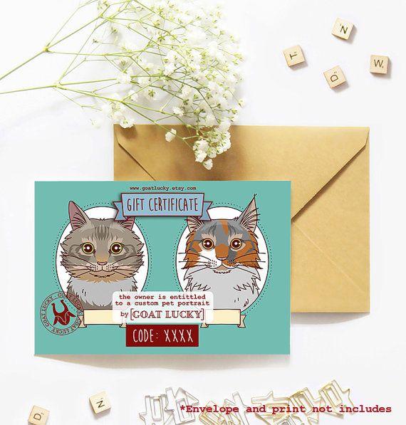 Certificado de regalo de retratos de gato. Retrato de gato persa. Regalo instantáneo. Ilustración dos gatos. Regalo ilustración mascota.