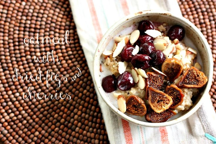 oatmeal bowl with dried figs and cherries