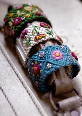 bracelets - macrame - displayed on a suitcase handle