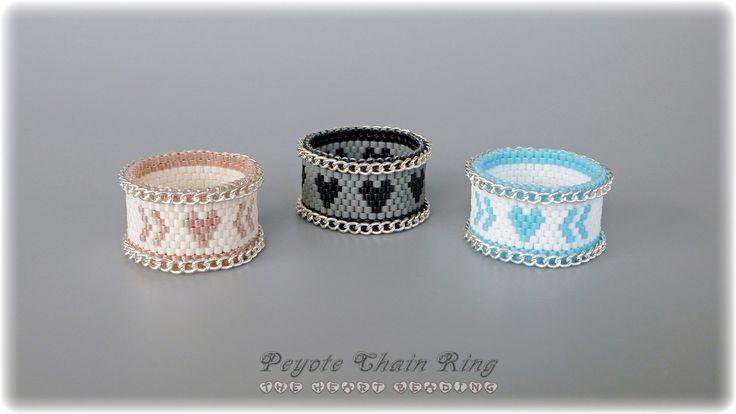 The Heart Beading: Peyote Chain Ring #DIY #Ring #Peyote