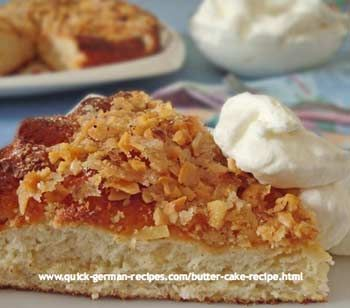 German Butter Cake topped with sugar, almonds, and butter http://www.quick-german-recipes.com/german-butter-cake.html