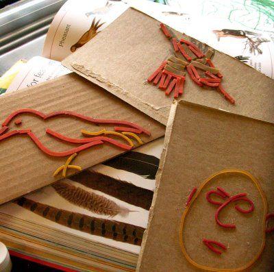 P A J A M A M A M A || A DIY & Homeschool Blog: {Spring Art:: Rubber-band Prints}Sandra Mora