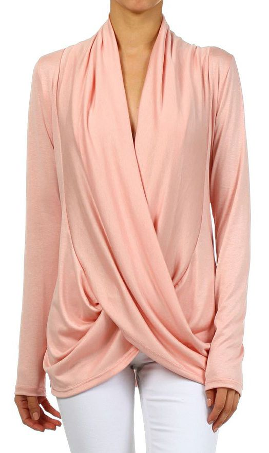 Peach Surplice Drape Top