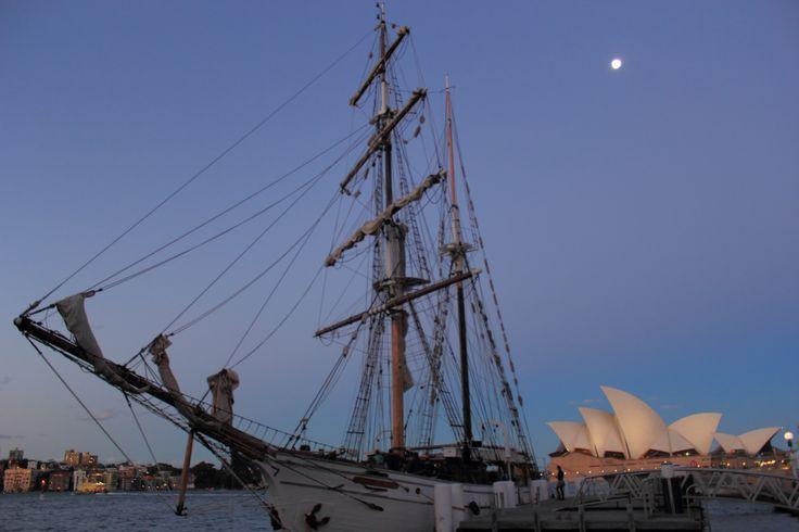 Sydney Opera House, a tall ship and a full moon. http://www.flickr.com/photos/ajstarr/
