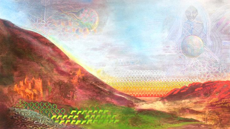 Light gets interesting at sunrise. 685x390mm Acrylic on board. Jamie Larnach 2015.