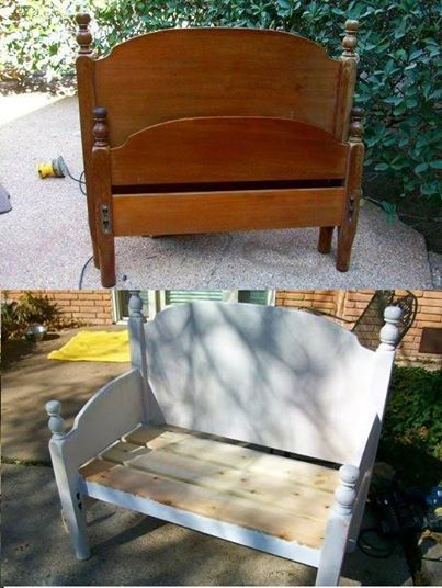 DIY bench from an old bed frame! Keep your eyes peeled for one while garage-sailing!
