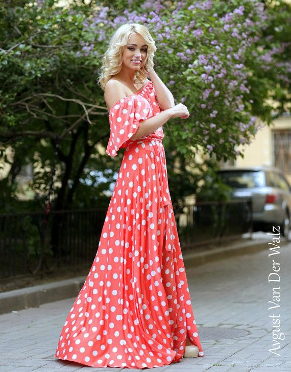 Polka dot dress. Coral Summer dress.Maxi от AugustVanDerWalz You can order this dress in my etsy shop