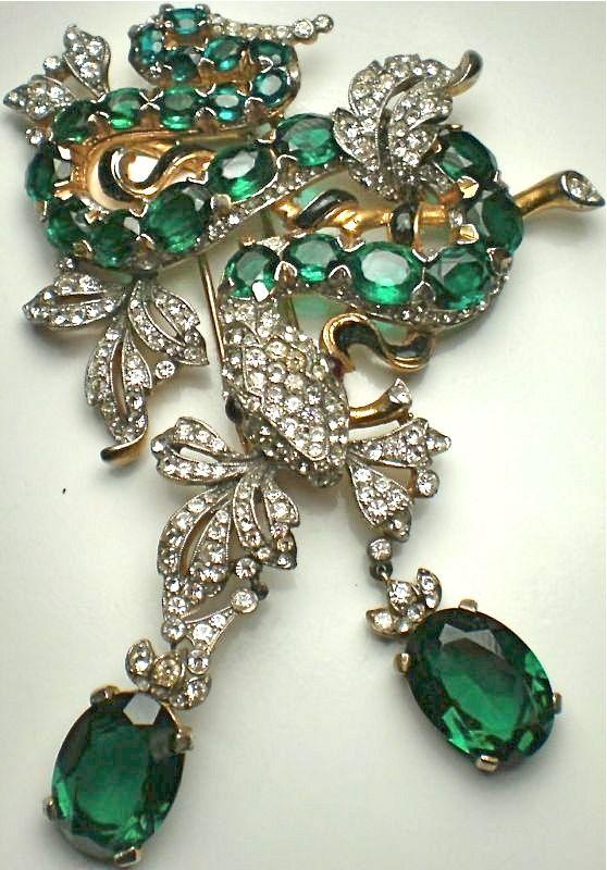 TRIFARI ALFRED PHILIPPE ENAMEL RHINESTONES SNAKE PIN. Vintage Rhinestone Jewelry ♥