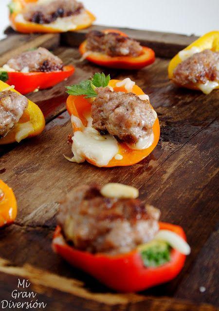 Mini Pimientos rellenos de keftes (Kofta) y mozzarella