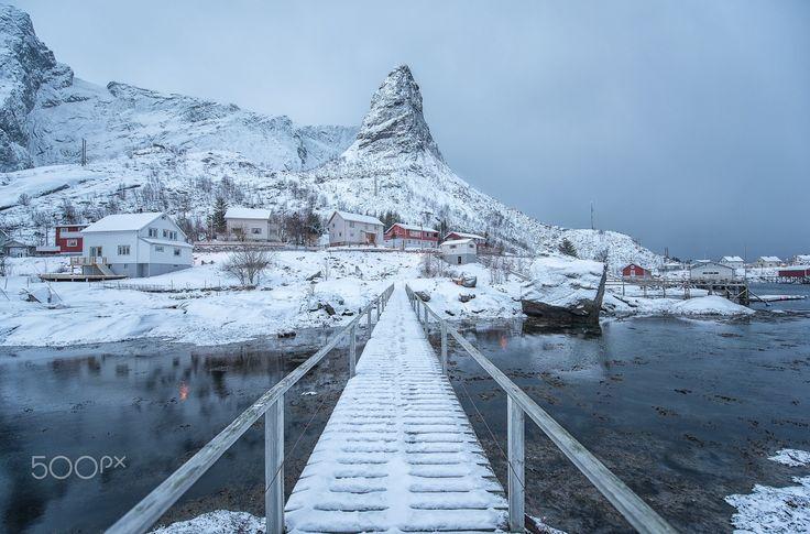 the bridge - aa small bridge near reine on the lofoten islands in northern norway