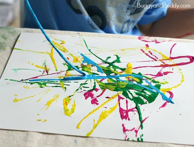Process Art For Preschoolers Painting With Yarn Process Art