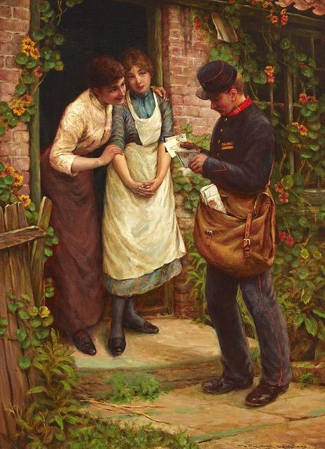 'The Postman' -  Oil on canvas by Thomas Liddall Armitage.
