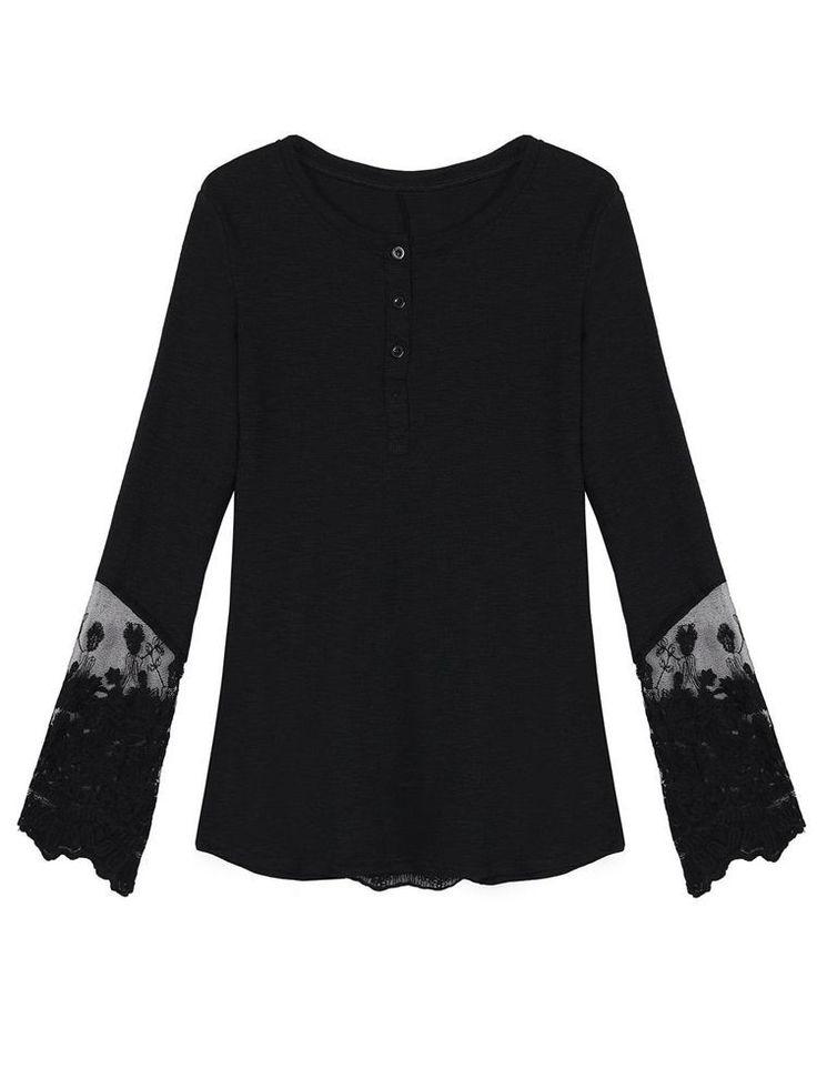 Women Swallowtail Lace Patchwork Long Sleeve Mesh T-shirt