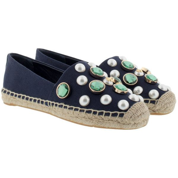 Tory Burch Espadrilles - Vail Espadrille Canvas Navy Sea - in blue -... ($255) ❤ liked on Polyvore featuring shoes, sandals, blue, navy sandals, blue flat sandals, navy blue shoes, tory burch espadrilles and navy blue flat shoes