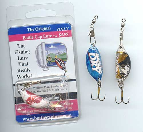 These Retail For About Five Dollars Each, So Learn How To Make Your Own Fishing Lures That Actually Work From Beer Bottle Caps, (I Bet Soda Bottle Caps Will Work Too)...These Are Designed To Catch: Walleye,  Trout, Char, Perch, Bass, Pike, Steelhead, & Salmon...Click On Picture For Video Tutorial On How To Make Your Own At A Fraction Of The Cost...