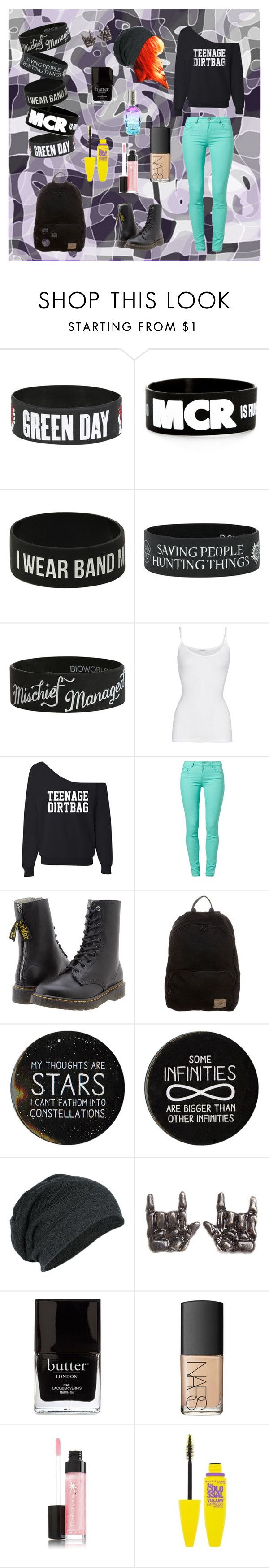 """""""Band merch"""" by professionalfangirl2306 ❤ liked on Polyvore featuring American Vintage, SuperTrash, Y's by Yohji Yamamoto, O'Neill, Jack Black and NARS Cosmetics"""