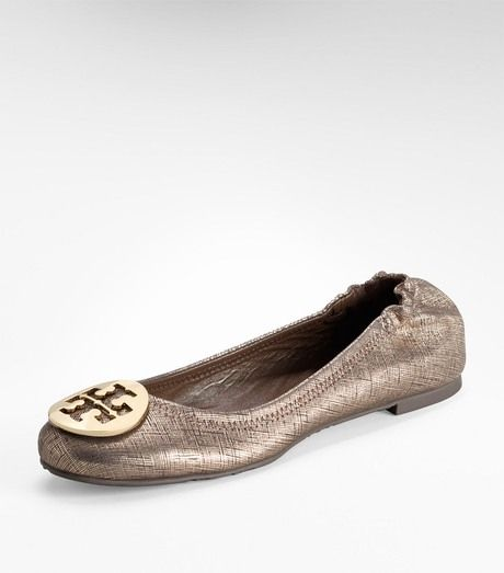 Tory Burch Gold Metallic Lurex Reva Ballet Flat