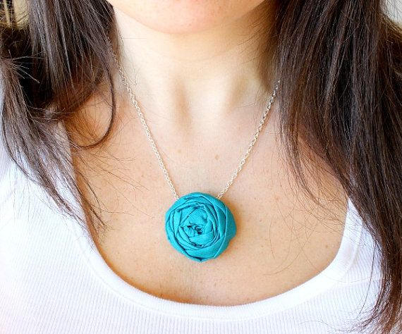 Fabric Flower necklace Rosette necklace by HappyLittleLovelies