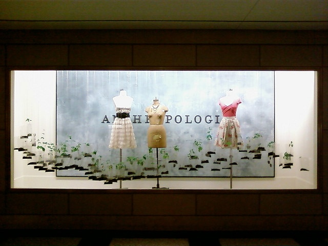 Definitely one of my favorite Anthropologie displays: Suspended bags with dirt and growing seedlings. So cool!