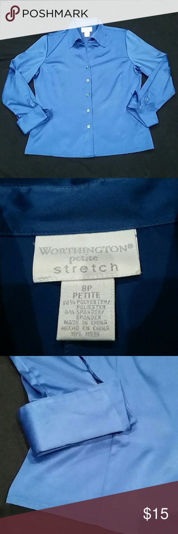 Worthington stretch satin dress shirt Beautiful teal color in stretch satin, great to dress up or for career wear. French cuffs. Timeless. Worthington Tops Button Down Shirts