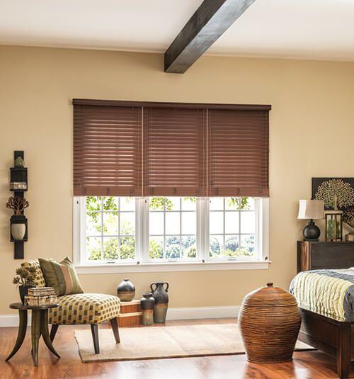 bali 2 faux wood blinds shown in brandy