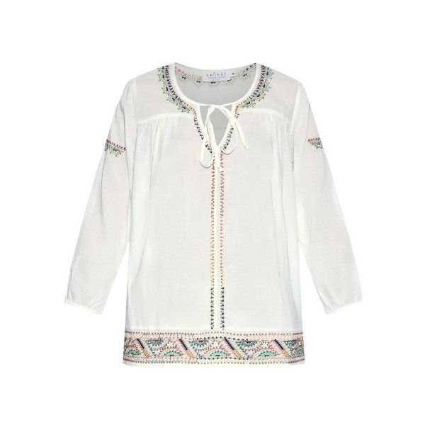 VELVET BY GRAHAM & SPENCER Dalene embroidered cotton blouse (310 TND) ❤ liked on Polyvore featuring tops, blouses, ivory, embroidered blouse, embroidered peasant top, boho blouse, ivory blouse and cotton blouses