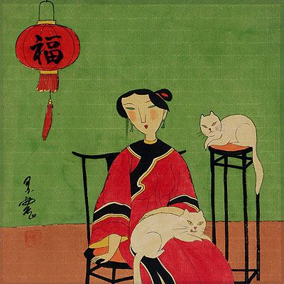 Asian Woman and Cats - Modern Art Painting