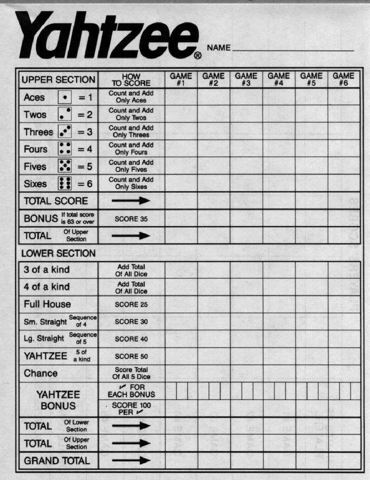 Yahtzee Score Sheets Printable Yahtzee Score Sheets