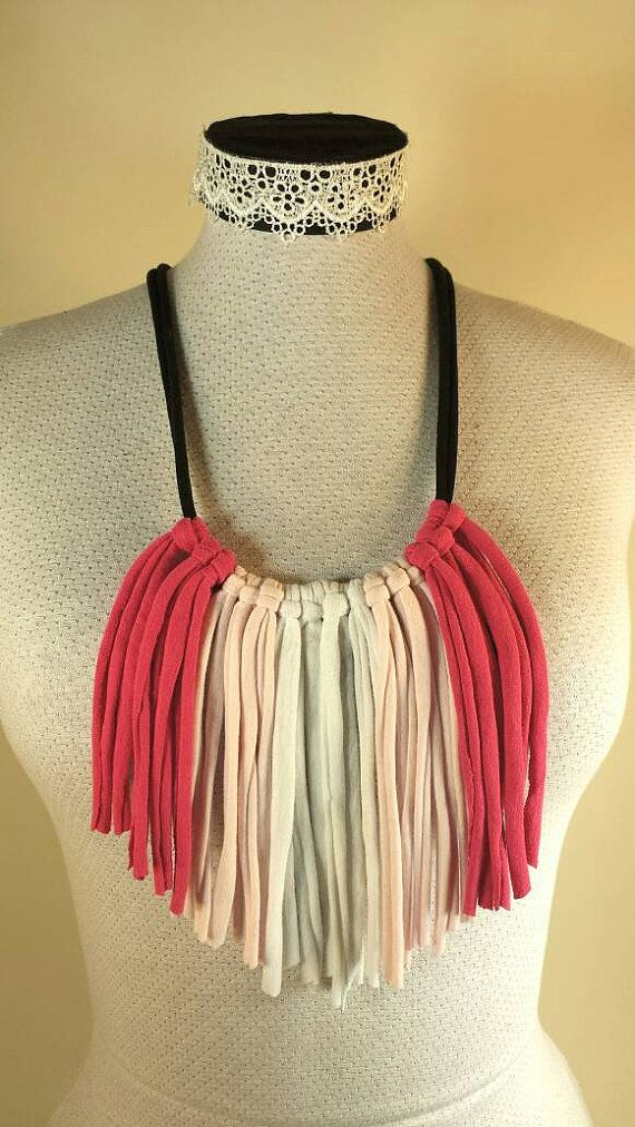 Check out this item in my Etsy shop https://www.etsy.com/ca/listing/273611078/neon-pink-and-white-fringe-tshirt