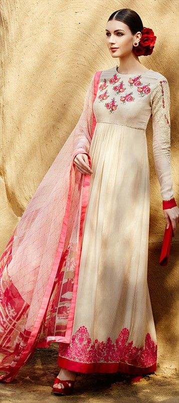 White #anarkali - Gown with rose #embroidery for day wedding - Shop in just INR 3,250.  #SalwarKameez #IndianWedding #partywear #summer2015 #floral #daytime