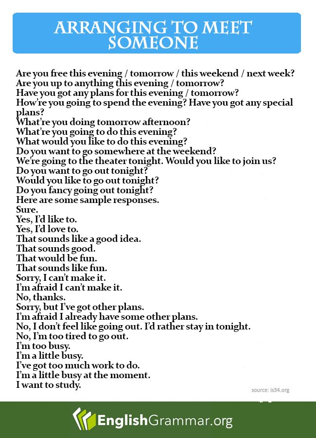 Phrases - Arranging to meet someone
