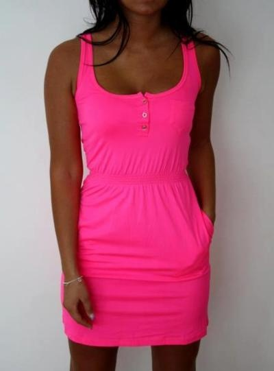 cute summer dress: Pink Summer Dresses, Hot Pink Dresses, Hotpink, Bright Pink, Dreams Closet, Casual Summer, Spring Summ, Neon Pink, Bright Colors