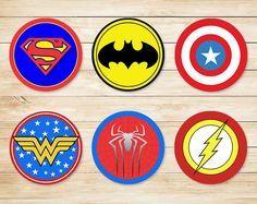 Printable Superhero Cupcake Topper Basic Logos // Superhero Stickers // Super…